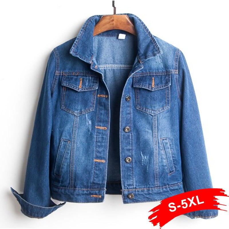 Grande taille déchiré trou pantacourt Jean veste 4Xl 5Xl bleu clair Bomber court Denim vestes Jaqueta à manches longues Jeans décontractés manteau