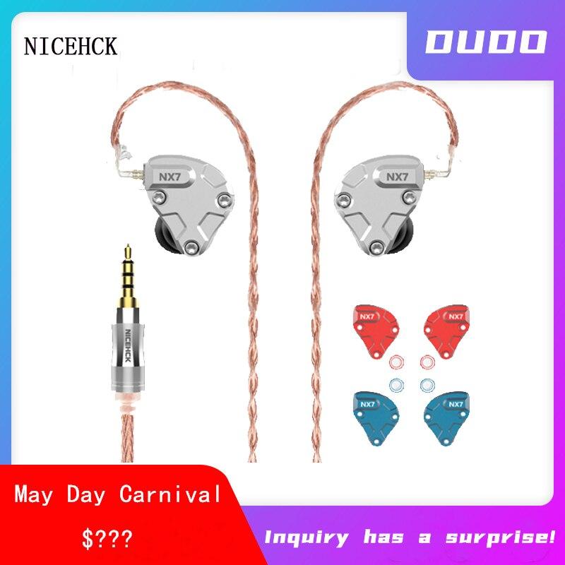 NICEHCK-auriculares internos NX7 Pro, 7 unidades, 4BA + doble CNT dinámico + filtro reemplazable, auriculares HIFI IEM NX7 PRO
