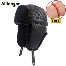 High Quality 2019 Winter Leather Pilot Cap Faxu fur russian ushanka hats Earflap