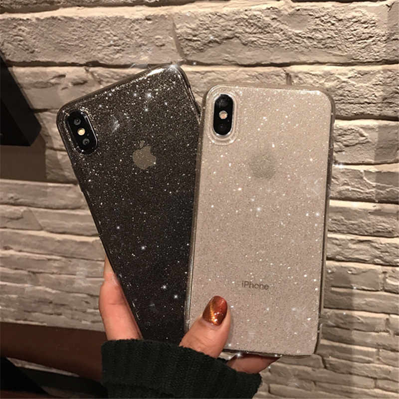 Shining Glitter Poeder Zwarte Telefoon Case Voor Iphone 11 Pro Xr Xs Max 8 7 Plus 6S Transparante Zachte tpu Shockproof Bling Back Cover
