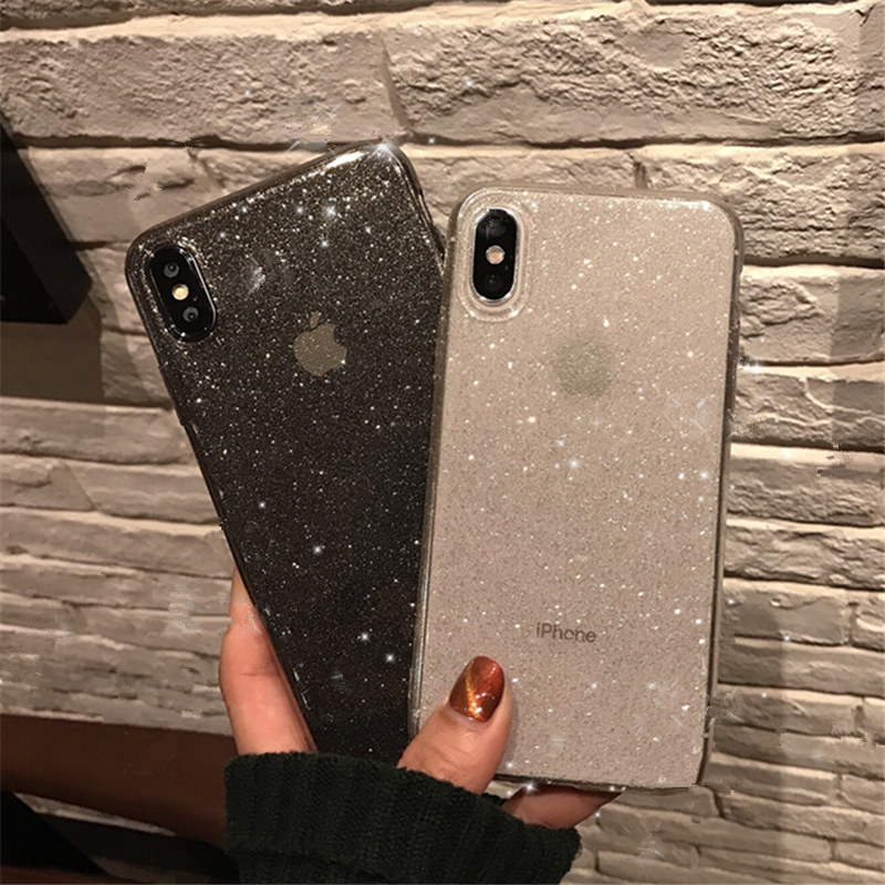 Shining Glitter Powder Black Phone Case For iPhone 11 Pro XR XS Max 8 7 Plus 6S Transparent Soft TPU Shockproof Bling Back Cover(China)