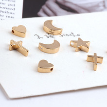 10pcs diy jewelry accessories copper plated real gold star and moon love earring necklace bracelet material pendant