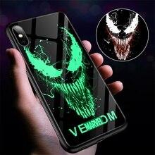 Marvel Venom Luminous Glass Case For iPhone 11 Pro Max XSmax XR XS X 8 7 6s 6 Plus Ultra-thin Captain America Iron Man Phone Cover