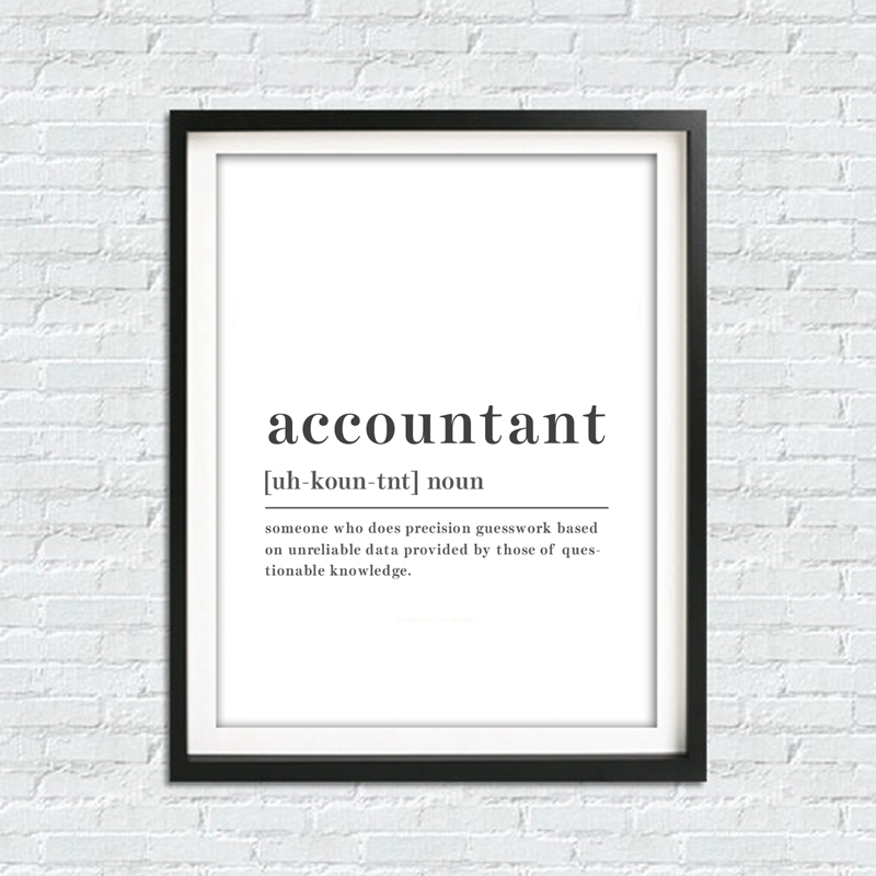 Funny Accountant Definition Wall Art Canvas Painting Prints Accountant Quote Posters Black and White Wall Picture Office Decor image