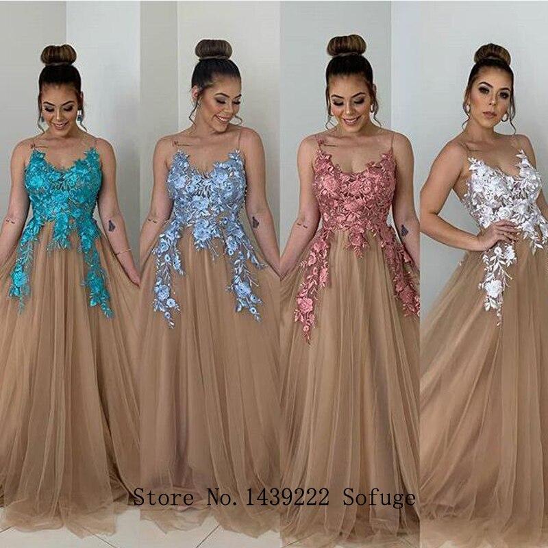 Colorful Pleat Tulle Evening Dresses Prom Spaghetti Party Appliques Vestidos De Fiesta De Noche Robe De Soiree Plus