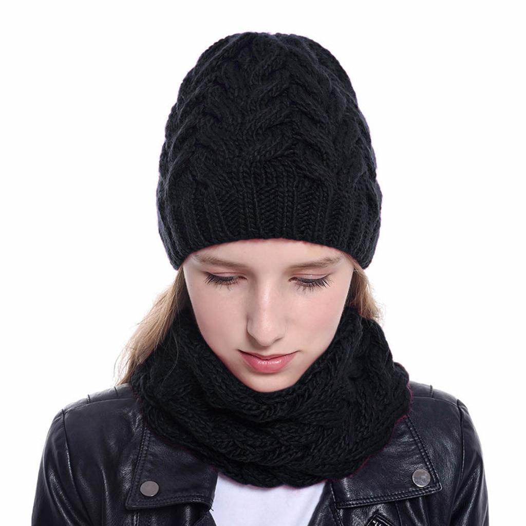 2019 New Women Girls Hat And Scarf Keep Warm Winter Casual Knitted Hat Hemming Hat Ski Hat Winter Hat Scarf Set Czapka Szalik