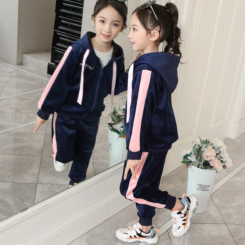Одежда для девочек; комплект детской одежды из бутика; детская одежда; Осенняя толстовка с капюшоном + спортивный костюм для бега от 2 до 13 ле