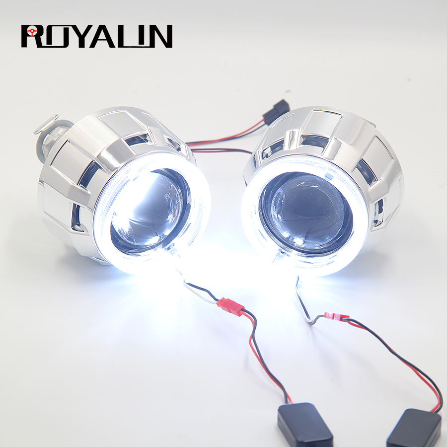 ROYALIN DRL Bi Xenon Halogen Headlight Lens LED Angel Eyes Projector H1 H4 H7 Car Motorcycle Lights Retrofit White Halo Rings