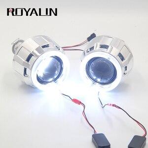 Image 1 - ROYALIN DRL ثنائية زينون مصباح هالوجين عدسة LED عيون الملاك العارض H1 H4 H7 سيارة مصابيح دراجة نارية التحديثية الأبيض هالو خواتم