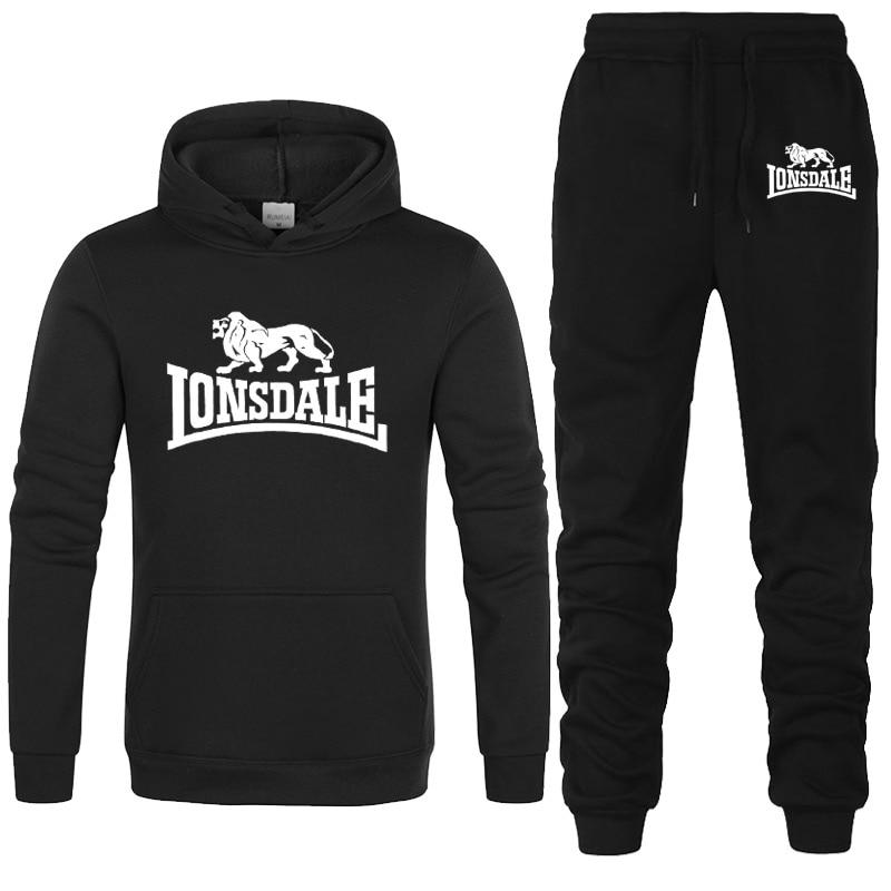 Fashion LONSDALE Print Men Hoodies Suits Brand Tracksuit Men Hip Hop Sweatshirts+Sweatpants Autumn Winter Fleece Hooded Pullover