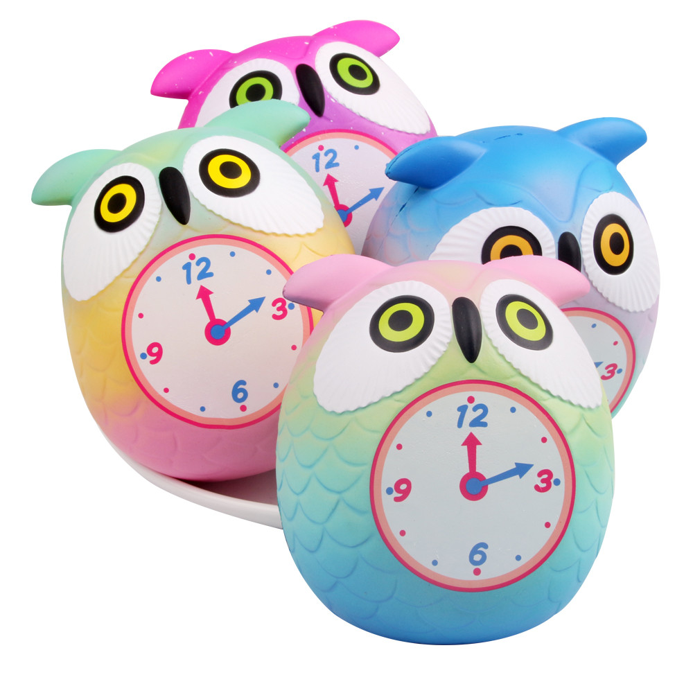 Kawaii Squeeze Cute Owl Clock Squishy Doll Toy Slow Rising Bread Scented Anti-Stress Relief Fun For Kid Gift  Decompression Toys