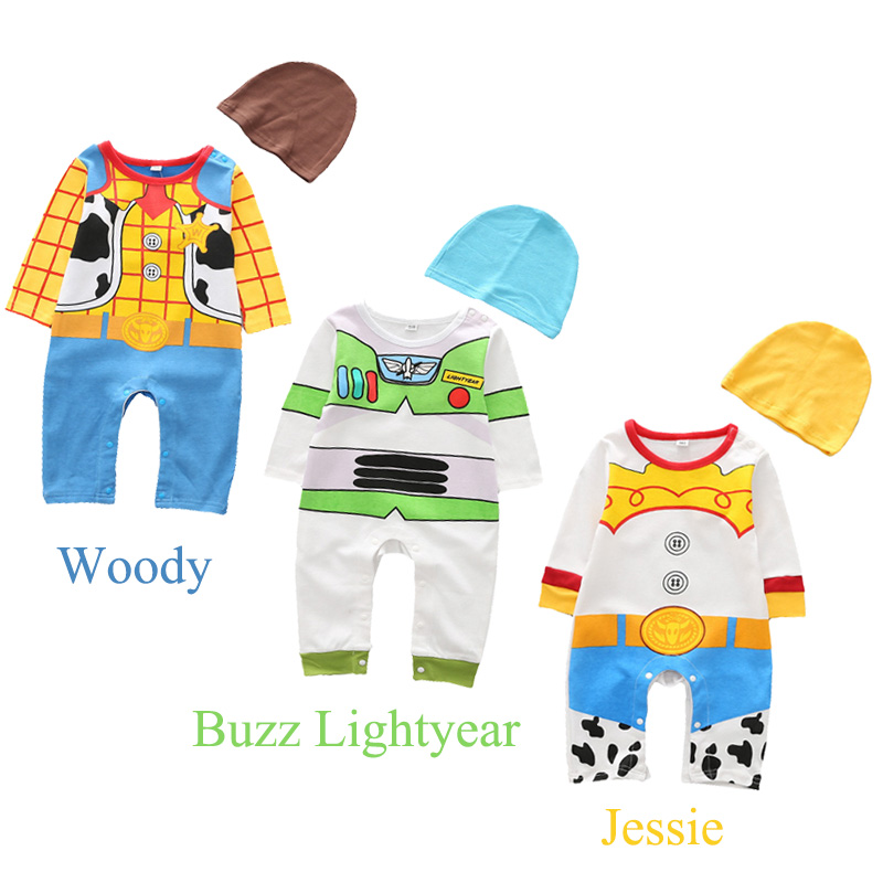 Newborn Infant Cowboy Woody Buzz Lightyear Rompers Costume Baby Cotton Cosplay Movie Toy Story Jessie Jumpsuit With Hat Birthday
