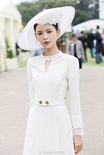 Star Same White Waist Dress V Collar British Style Thin Long Sleeves with Belt Women 2019 Full O-Neck Dresses