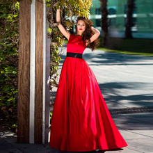 Verngo Simple Aline Evening Dress Red Stain Dresses Long 2019 Gown Fashion Formal Party Robe De Soiree
