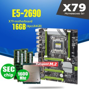 Image 1 - Atermiter x79 turbo placa mãe lga2011 atx combos e5 2690 cpu 4 pçs x 4gb = 16gb ddr3 ram 1600mhz pc3 12800r pci e nvme m.2 ssd