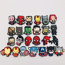 Mignon dessin animé icône Marvel Avengers broche Badges PVC Deadpool Batman fer homme Figure épingles Badge sac à dos vêtements chapeau décor(China)