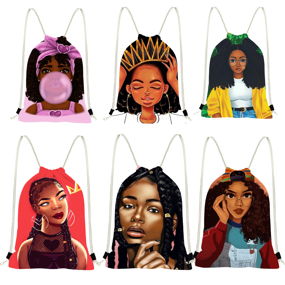 FORUDESIGNS Drawstring Backpack Afro Girls Casual Mini Kids Girls String Shoulder Bags Woman Cinch Fitness Pocket Bags For Child