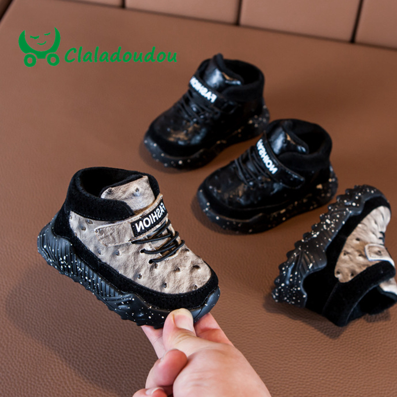 Claladoudou 12-16cm Brand Winter Baby Tennis Shoes Black Thin Velvet Baby Boy Shoes 24m Leopard Babyshoes Toddler Sneakers 0-2Y