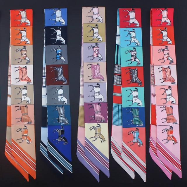 New print horse shape ladies silk feel lace turban bag scarf small ribbon hair band clothing match