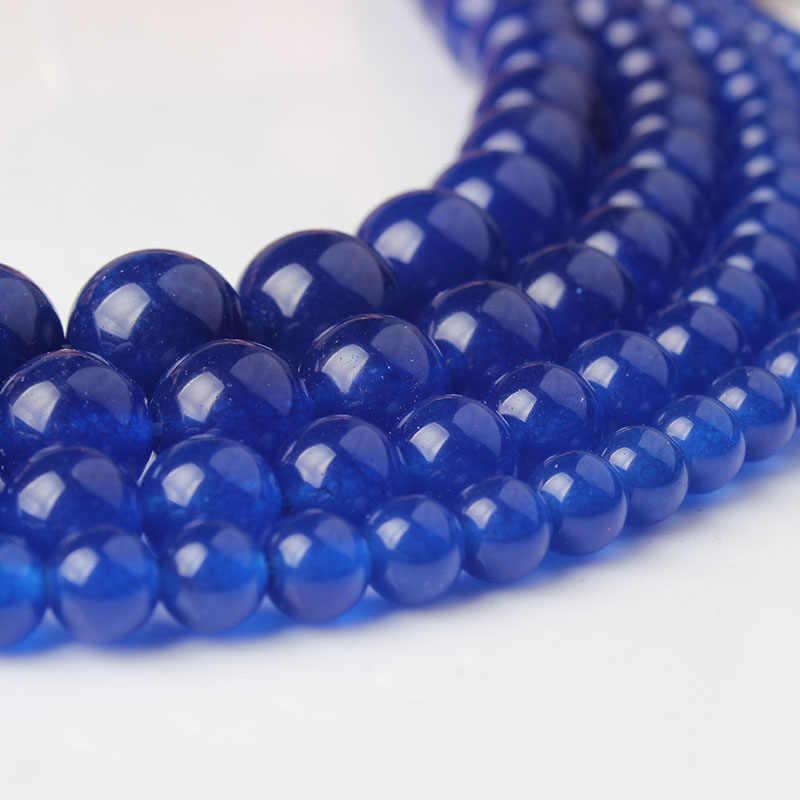 Joyería de moda de tienda de fábrica, cuentas sueltas de Calcedonia azul oscuro, adecuadas para hacer amuletos, collares y pulseras DIY