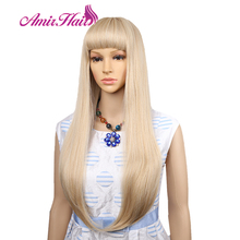 Amir Long Straight Light Blonde Synthetic Wigs With Bangs Cosplay Hair For Black/White Women High Temperature Fiber