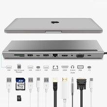 11 в 1 USB C док-станция для ноутбука type C-HDMI VGA RJ45 Ethernet USB 3,0 SD/TF кард-ридер с PD зарядкой для Macbook Pro
