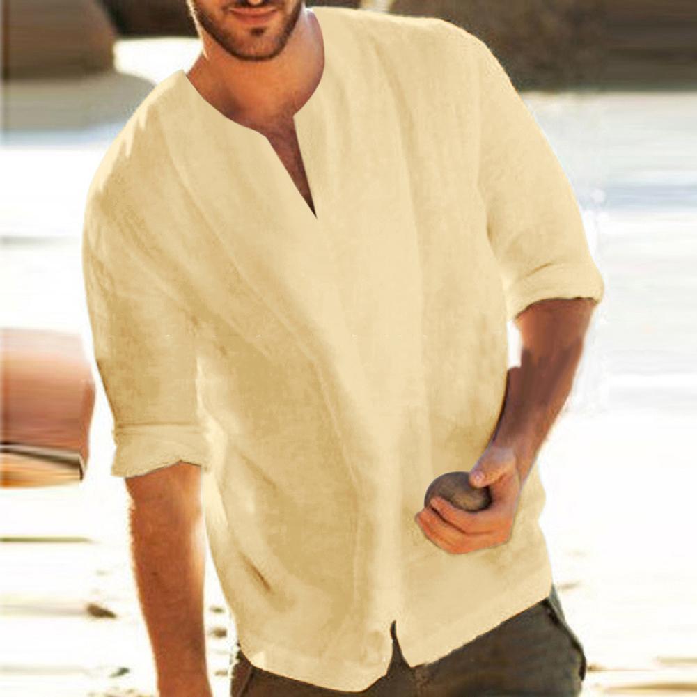 Men Casual Long Sleeve V Neck Slitting Hem T-Shirt Cotton Linen Loose Blouse Top