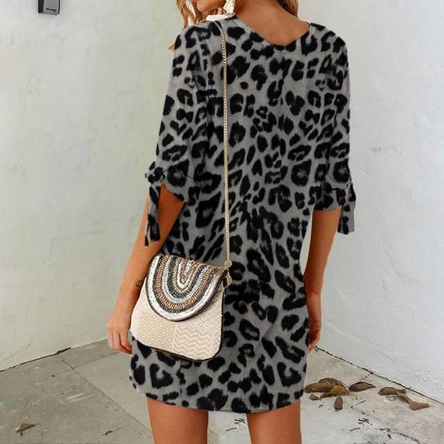 Femmes Sexy imprimé léopard chemise robe Celmia 2020 mode décontracté demi manches col rond Mini robe grande taille élégant Vestidos haut