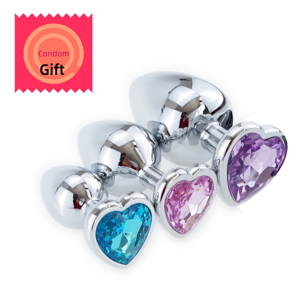 Men Women Gay Mix Color Smooth Stainless Steel Butt Plug Heart Crystal Jewelry Prostate Masturbator Anal