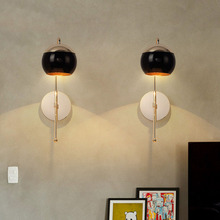 Modern Black Glass Ball Wall Lamp Dining Room Gold Metal Body Mirror Light Wall Light Vintage Industrial Decor Wall Sconce Lamp 2 3 heads modern gold body milky glass dining room wall lamp magic beans cafe balcony lights dna glass light free shipping