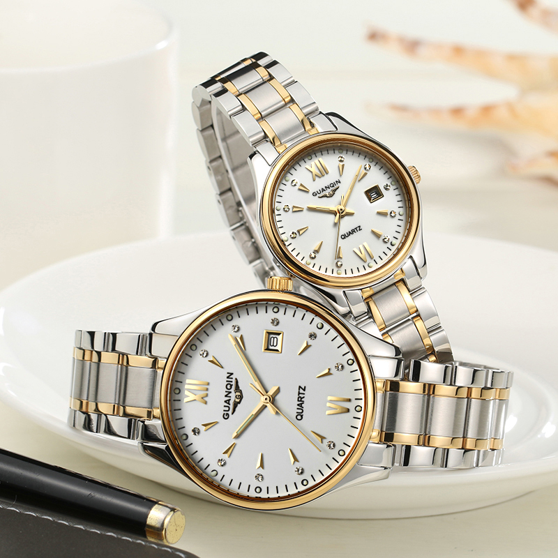 GUANQIN Couple Watch Set Men Women Fashion Lovers Watch Date Wristwatch Luxury Gold Quartz Watch Women Clock Ladies Wrist Watch