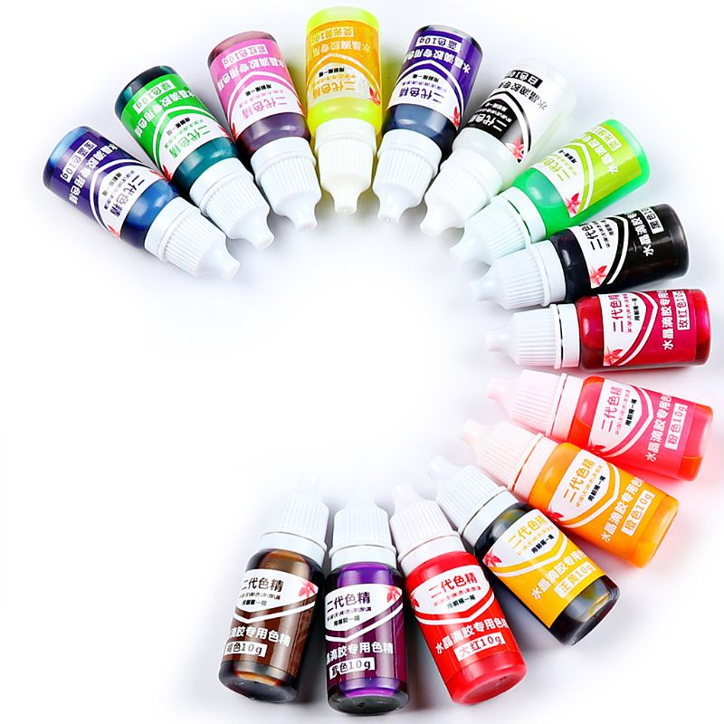 15 Pcs/set DIY Handmade Jewelry Crafts Making Coloring Pigment UV Crystal Glue Gel Oily Solid Color Resin Dye