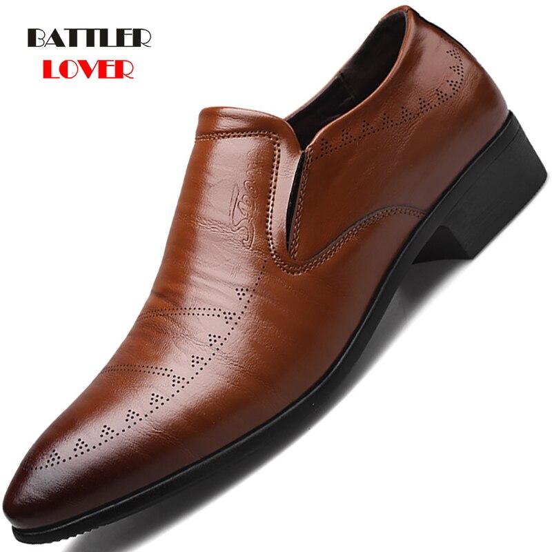 2019 Classic Business Men's Dress Shoes Fashion Elegant Formal Wedding Shoes Men Slip On Office Oxford Shoes For Men Black Brown