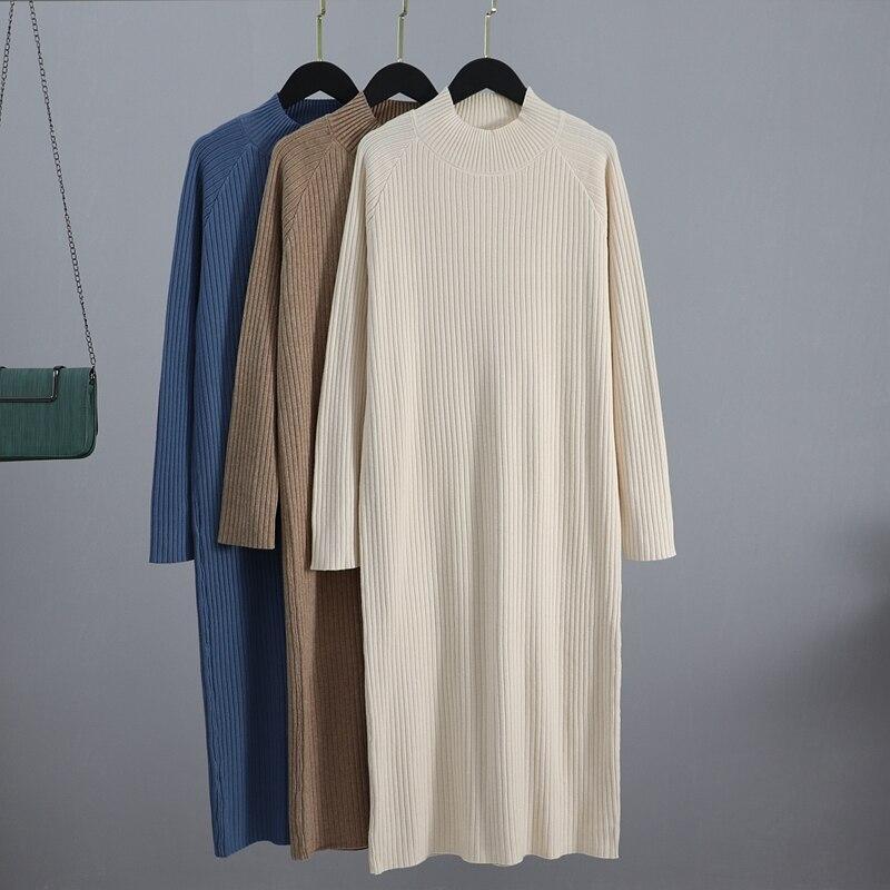 Женское длинное прямое платье GIGOGOU, длинное теплое платье свитер большого размера с высоким воротником, осенне зимний сезон|Платья| | АлиЭкспресс