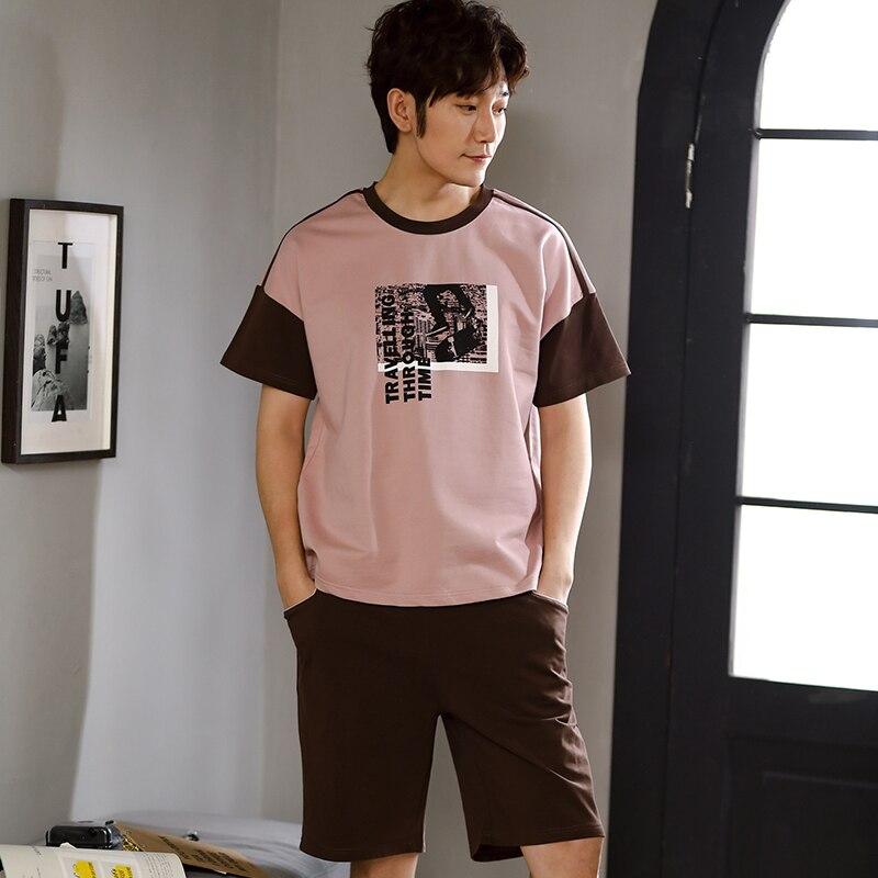 Verão dos Homens Conjunto para Homem Tamanho Grande Algodão Pijama Define Manga Curta Carta Top Sheer Shorts Pijamas Homewear Masculino 3xl 100%