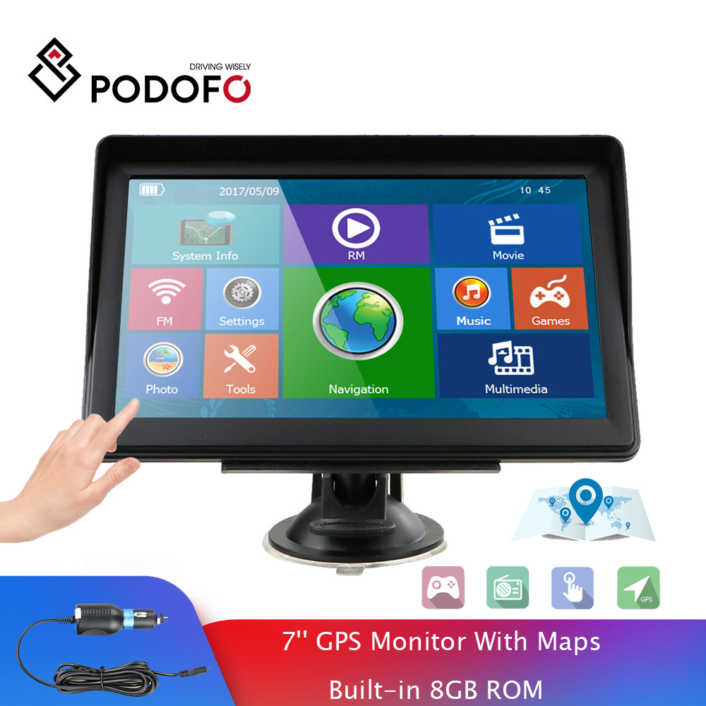 Podofo 7 Zoll HD Auto GPS Navigation Navigator Mit Karte Builtin 8GB ROM FM Radio MP3 MP4 2019 Touch bildschirm Auto Sat Nav Automobil