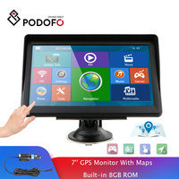 Podofo 7 Inch HD Car GPS Navigation Navigator With Map Builtin 8GB ROM FM Radio MP3 MP4 2019 Touch Screen Car Sat Nav Automobile