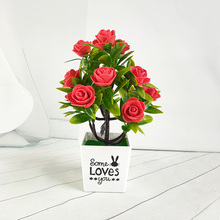 Artificial Fake Rose Flower Bonsai Plastic Potted Plant Garden Home Wedding Decor Artificial Plants Bonsai Fake Flower 5pcs best seller mist lavender plastic artificial flower plastic fake flower plant home garden decor shop window wedding wall