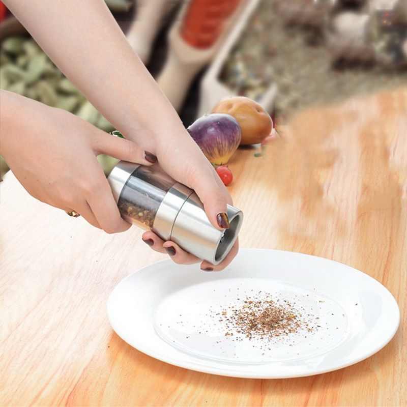 دليل الملح الفلفل مطحنة الفولاذ المقاوم للصدأ التوابل مولر أداة المطبخ اكسسوارات طحن زجاجة التوابل صلصة طاحونة