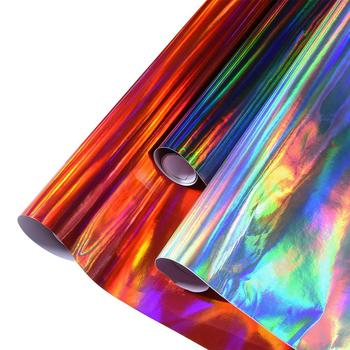 Holographic Laser Chrome Black/Red/Silver PVC Vinyl Wrap Car Interior Decals Stickers Sheet Film 20/30/50cm x 152cm image