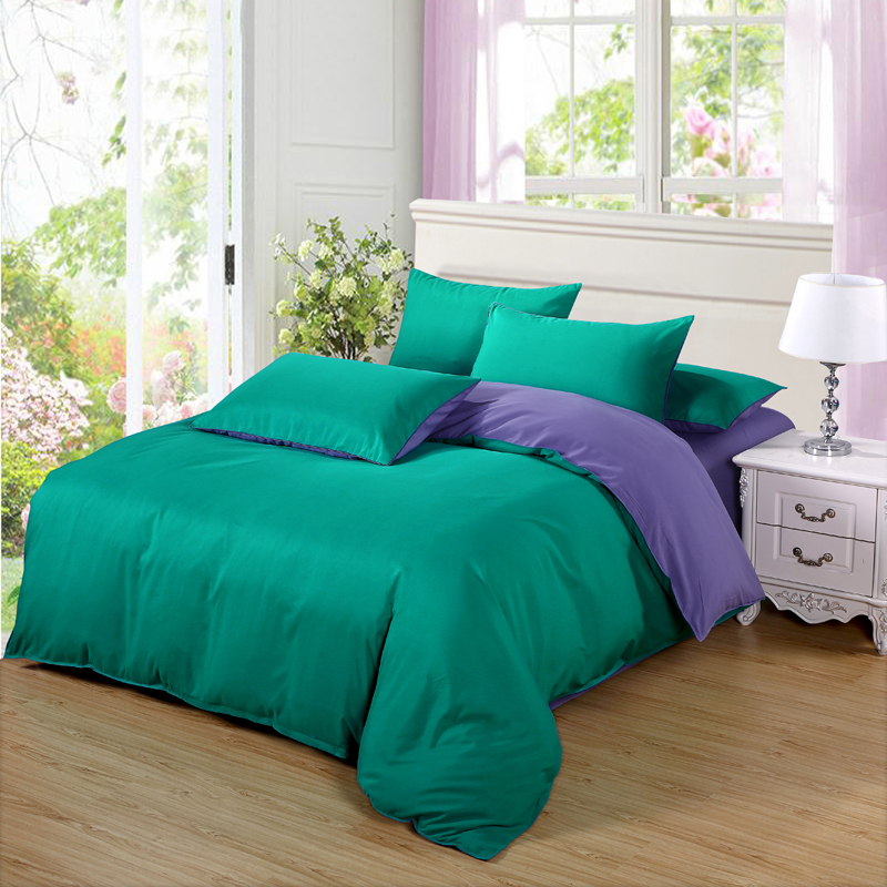 Pillowcase Bedding-Sets Purple-Bed-Sheet Green Double-Color Duvet-Cover King-Queen Single-Size