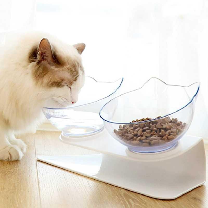 Sevimli kedi kulaklar kedi kaseler ile çift çanaklar yükseltilmiş Stand Pet gıda su kaseleri kediler köpekler için besleyiciler olmayan kayma kedi kase evcil hayvan malzemeleri