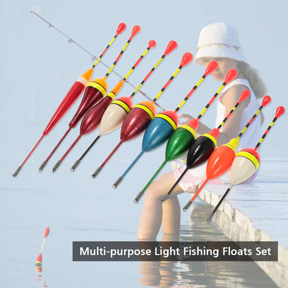 10pcs Multi-purpose Luce Floater Galleggianti Da Pesca Set Capace di Galleggiare Bite Sciopero Indicatore Galleggiante Boa Pesca pesca Attrezzature