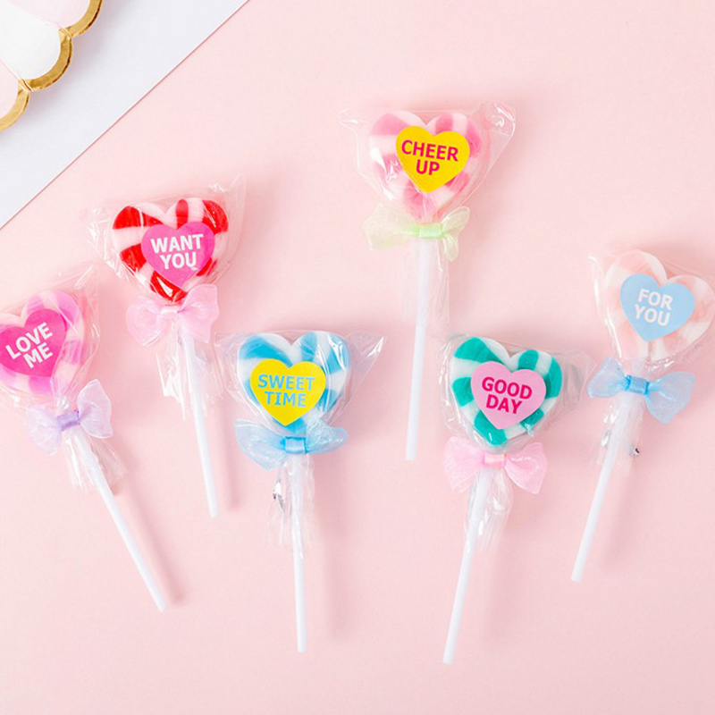 2 Pcs Kawaii Lovely Heart-shaped Lollipop Rubber Eraser/ Stationery For Children Students/nice Gift Eraser
