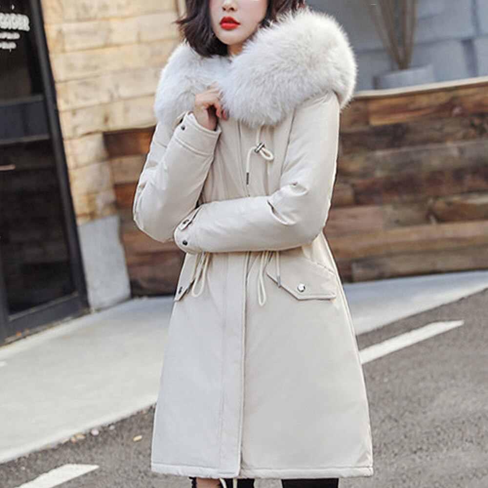 Wasserdichte Jacken Frauen Plus Größe Neue frauen Winter Warme Parkas Schlanke Lange Mujer Mäntel Weibliche Große Pelz Kragen Mit Kapuze mantel