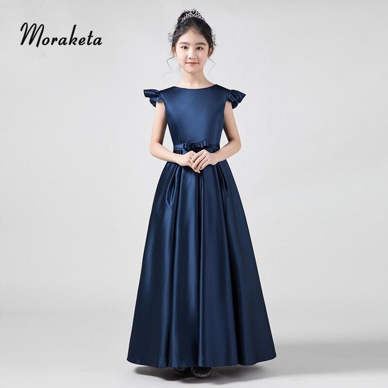 Satin Navy Blue   Flower     Girl     Dresses   For Wedding A-line Floor-length Princess Kids Pageant   Dresses