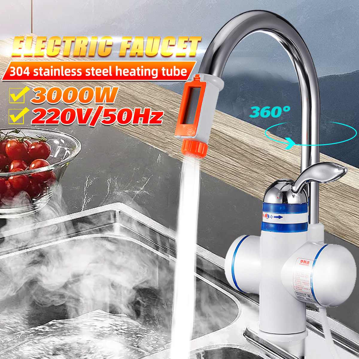 Water Heater Kitchen Instant Heating Tap Electric Water Heaters Electric Faucet Temperature Display