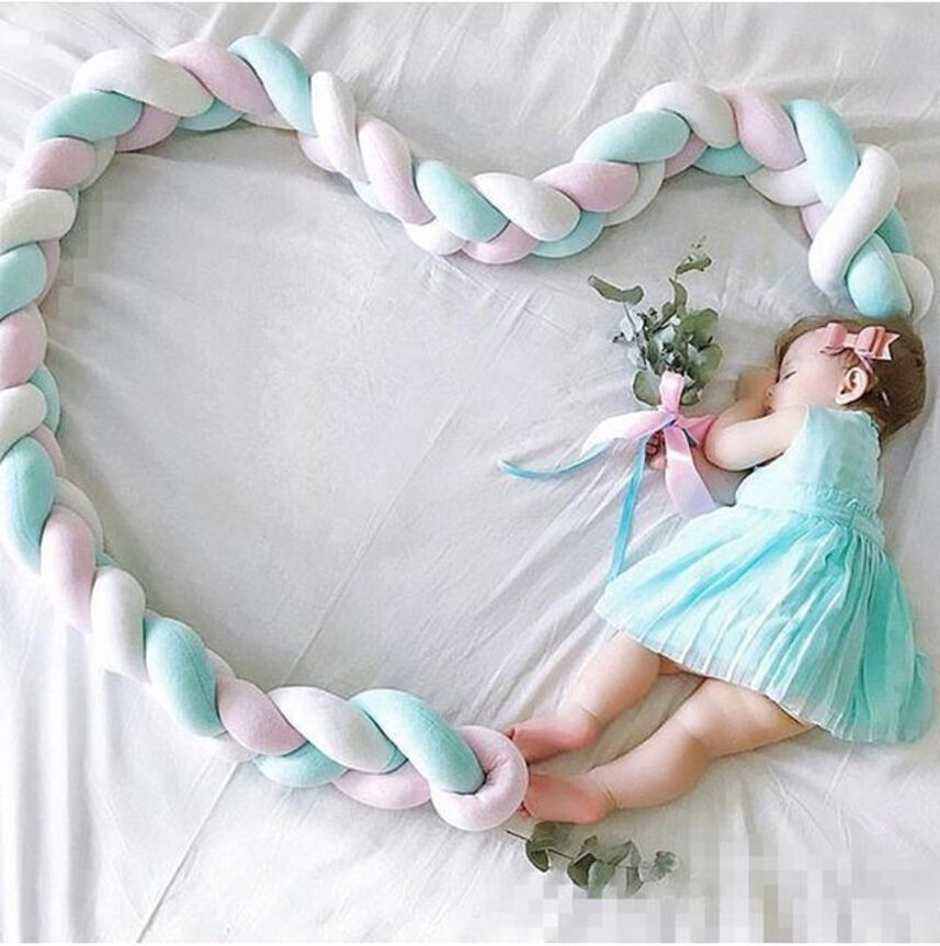 3M Length Baby Bed Bumper Protector Pure Weaving Plush Knot Baby Crib Bedding Baby Room Decor