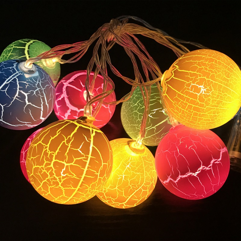 2M 10LED Christmas LED Lights For Interior Exterior Garden Wedding Party Decor Garland Of Cracked Balls Xmas Holiday Gifts