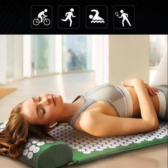 Massager Mat with Pillow Cushion Acupressure Relieve Stress Massage Yoga Mat Back Body Pain Spike Mat